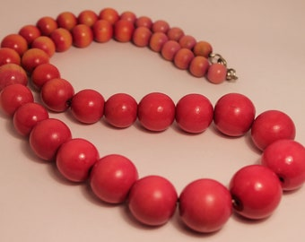 Wooden Pink Vintage Necklace Large Circles Statement Piece