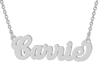 Small Sterling Silver Personalized Carrie Name Necklace Fine Laser Cut Jewelry SN03