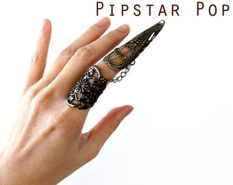 Warrior Queen Filigree armor ring (1 Ring or set of 5)(3 color option) Pliable Metal finger ring cosplay cat claw,dragon talon,fantasy larp