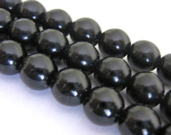 25 Czech Bead 8mm Round, Opaque Black Jet, Pressed Glass Druk
