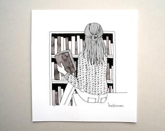 reading girl, reading woman, reading art, reading drawing, reading illustration, bookworm, original art, original illustration, reading