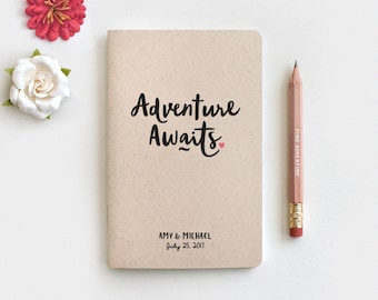 Adventure Awaits Personalized Travel Journal & Pencil, Personalized Wedding Gift for Couple, Travel Notebook, Anniversary Engagement Gift