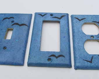 Eco Friendly Bird on Blue Sky Recycled Switch Plate Covers-Recycled Handmade Paper