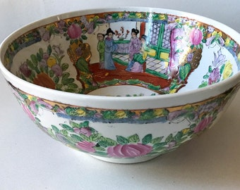 Old Chinese Rose Medallion Bowl