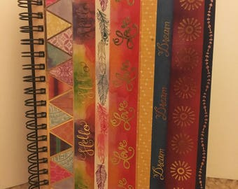 Colorful Journal with graph paper and blank pages