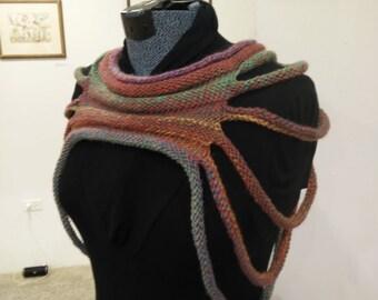 Hand Knitted Shoulderette/ Necklace - Variegated Colors