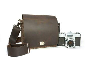 Camera messenger bag - small - brown tweed and leather