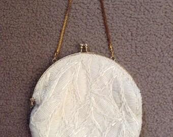 Vintage White Round Satin Lined Hand Beaded Small Evening Purse, Walbaeg, Dressy, Handbag, Made in Hong Kong