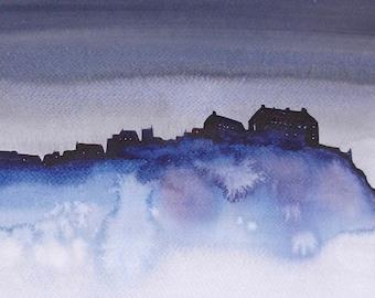 Greeting Card - 'Edinburgh Castle Darkness'