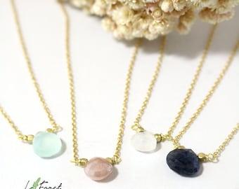 Free Shipping->Ann Dainty Semi-precious Stone Choker or Short Necklace