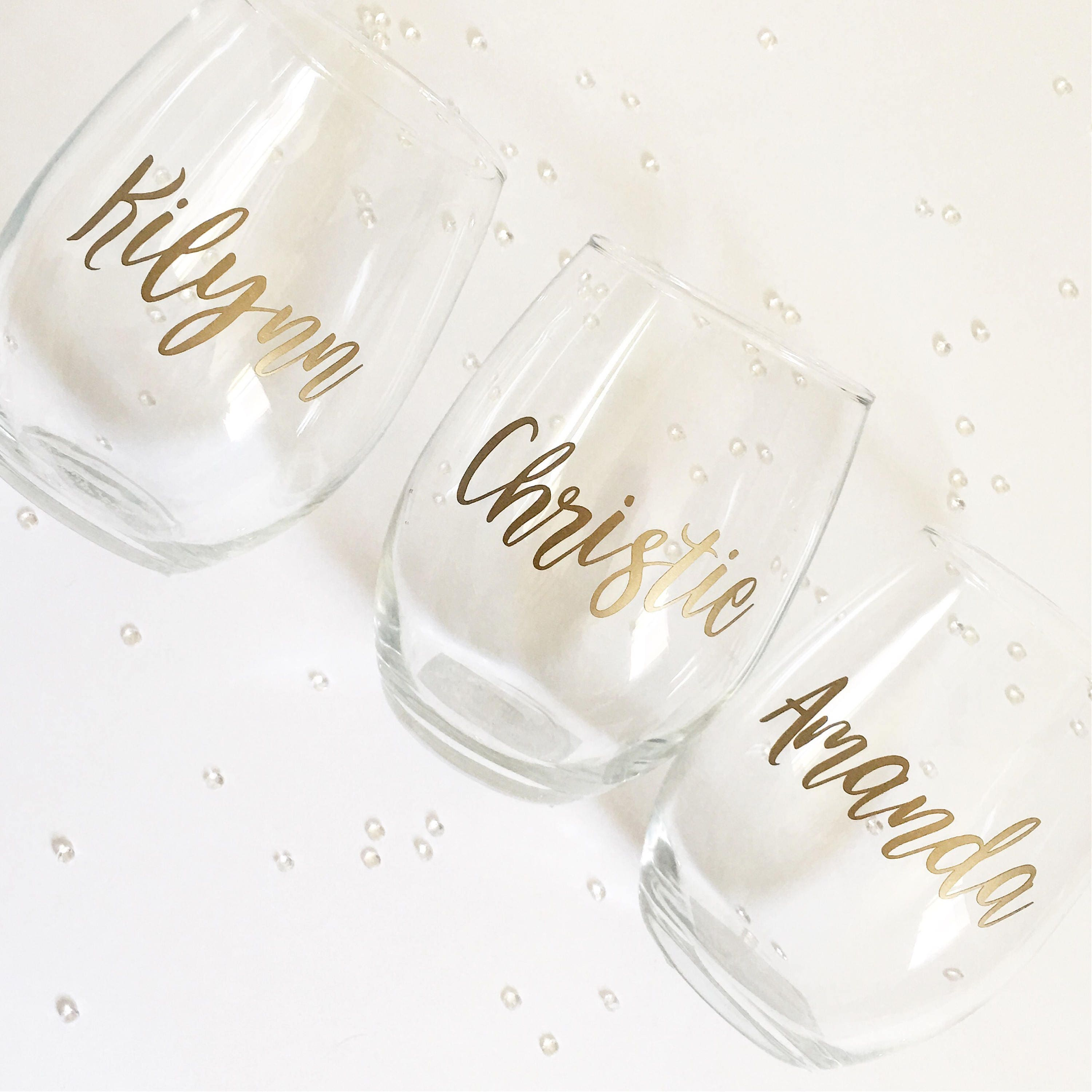 Personalized Wine Glasses for Bridesmaids / Bachelorette Party ...