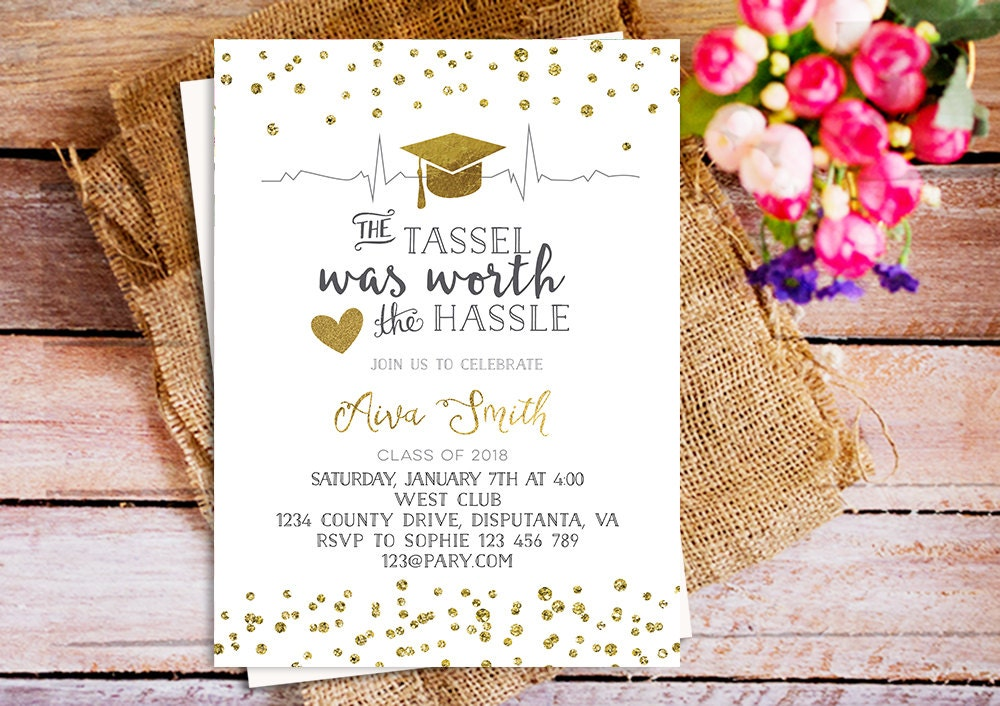 The tassel was worth the hassle invitation gold graduation zoom filmwisefo