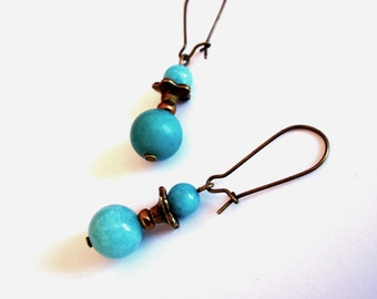 Earrings retro, amazonite aqua blue