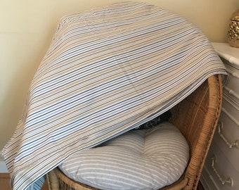 Striped Full Flat Sheet GUC 60/40 cotton/poly