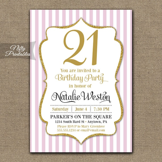 21st Birthday Invitations Pink Gold 21st Birthday Invites