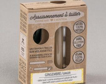 Coffret 1 saveur Assaisonnement à tailler Gingembre, crayons d'épices & condiments, cadeau foodie pour cuisine innovante