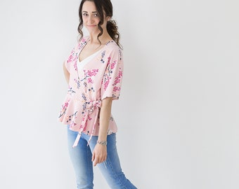 Pretty Pink Floral Wrap-over Kimono// Women's// Peplum Top// Short Sleeved// Gifts For Her// Handmade// Size 6,8,10 & 12