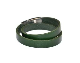 Double Wrap Bracelet / Leather Wrist Cuff, Green Leather Bracelet / Mens Leather Bracelet, Leather Bracelet Women, Leather Cuff Bracelet