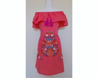 Off the Shoulder Mexican Dress - Mexican Peasant Dress - Coral Pink Sundress - Mexican Dress - Mexican Wedding - Mexican Bridesmaid Dress
