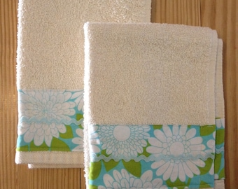 SUPER SALE Towels- set of two Cotton Terry Fingertip Hand Towels - Blue Green Floral - Ready to Ship