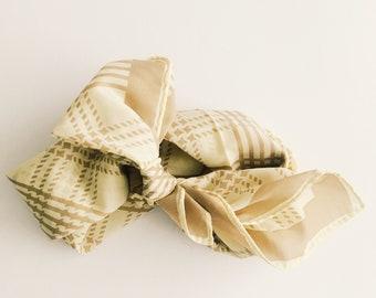 Vintage scarf [ tan plaid ]