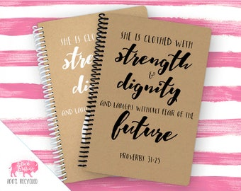 Proverbs 31:25 Spiral Journal | Spiral Notebook | Writing Gift | BB006