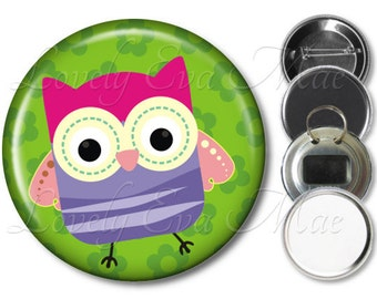 Colorful Owl Pocket Mirror, Owl Compact Mirror, Owl Magnet, Owl Bottle Opener Key Ring, Owl Keychain, Owl Pin, Owl Button, Pink & Green