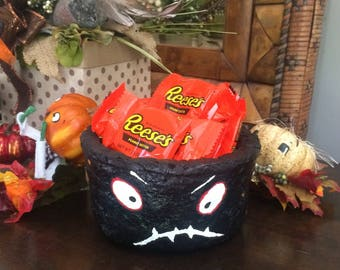 Halloween bowl halloween candy dish ooak clay monster candy bowl black and white sugar cookie dolls by toni kelly