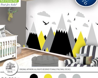 Brimstone Yellow Mountain Wall Decal for Nursery,Kid room. High quality removable sticker - eagles, pine trees, clouds. Adventure decal d576