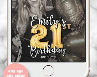 21 Balloons Snapchat Filter Birthday, Gold Balloons Snapchat Filter 21st,  21st Birthday for her, Gold Balloons Birthday Geofilter, Gold