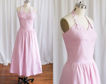 Triage dress | vintage 50s dress | purple cotton 50s dress | 1950s halter sun dress | lavender cotton 1950s dress | mauve pink