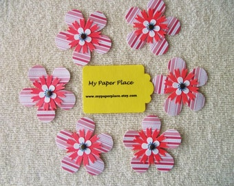 6 -Red/White Stripe-  2 INCH PAPER FLOWERS - Free Secondary Shipping