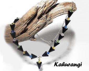 Black Swarovski necklace,Stylish Swarovski necklace,Swarovski multi colour necklace, Swarovski black necklace,925 sterling silver