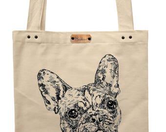 Bulldog - hand printed cotton tote bag