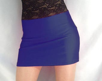 High waisted navy blue shiny spandex mini skirt with black lace top