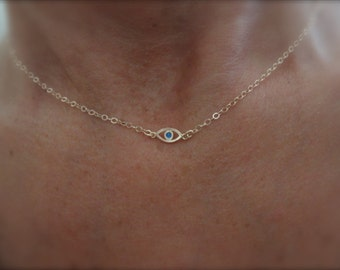 Rose gold evil eye necklace with a touch of enamel - 14K rose gold-filled chain - protection necklace - tiny evil eye necklace -