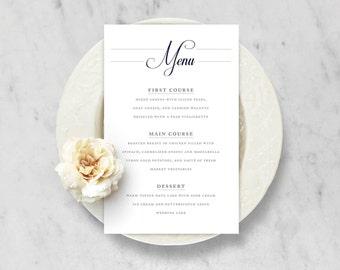 Printable Wedding Menu — Classic, Traditional, Simple