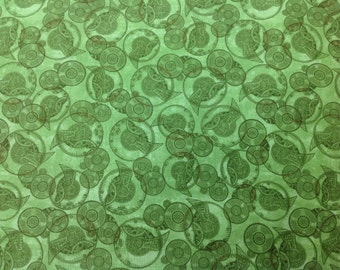 Quilting Treasures Fabric Victorian Dream Steampunk Watch Parts Green Bkg 1 yard