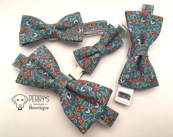 Blue/Mini Orange flowers Bow Tie and Collar