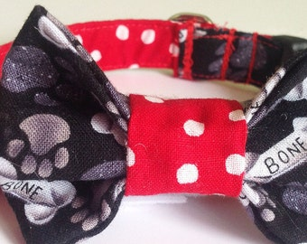 Black White & Red Dog Bow Tie Collar with Dog Bones, Paw Prints, and Polka Dots