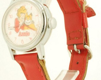 Annie by Picco character wrist watch, 7 Jewels, heavy silver-toned round smooth polish case