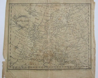 Original 1790's Europe Map By J Allen For Morse's American Geography By Thomas & Andrews Boston - Free Shipping