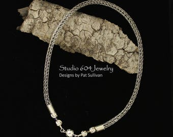 Hand woven Fine Silver Necklace - N796