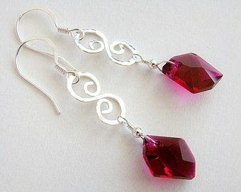 Gala Earrings, Ruby Crystal Silver Filigree Earrings, Pink Swarovski Crystal Earrings, Hammered Silver Drop Earrings