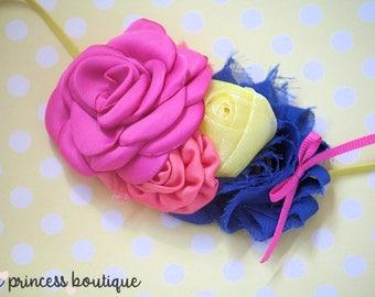 Ferris Wheel - Headband, Baby Headband, Photography Prop, Couture Headband, Hair Clip, Shabby Chic Headband, Summer Headband, Blue Pink