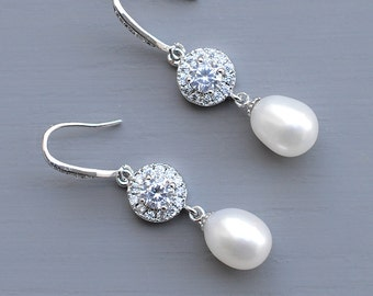 Freshwater Pearl Earrings, Bridal Pearl Earrings, CZ Pearl Wedding Earrings, Natural Pearl Earrings Cubic Zirconia Bridal Jewelry