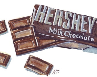 Watercolor Painting - Chocolate Bar Watercolor Art Print, 5x7