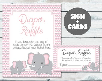 Elephant Baby Shower Diaper Raffle Tickets And Sign, Pink And Gray Elephant Diaper Raffle Inserts, Chevron Diaper Raffle Baby Shower Tickets
