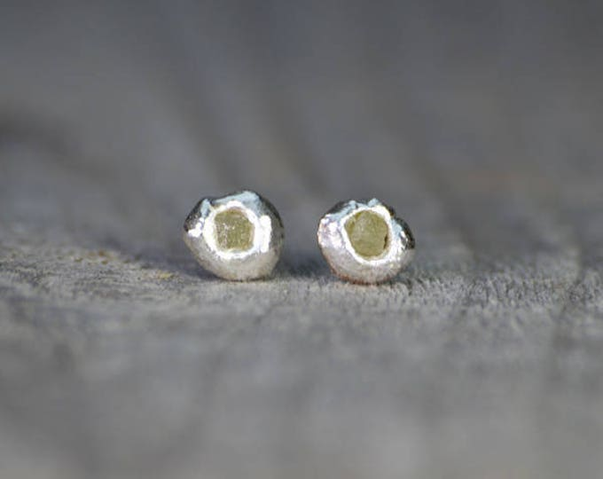 Rough Diamond Earring Studs, Raw Diamond Ear Studs Handmade In England