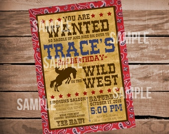 Western Cowboy Wild West Digital Birthday Invitation Bandana Print